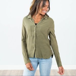 All cotton olive green button front long sleeves